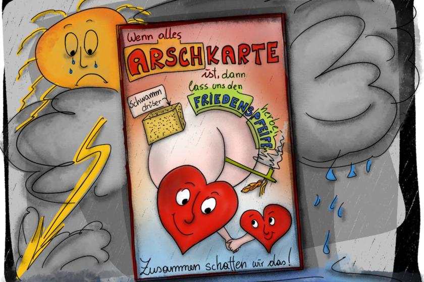 Arschkarte Crohn 840x560 - Über Angst, Pandemie und Medikamenten-Engpässe