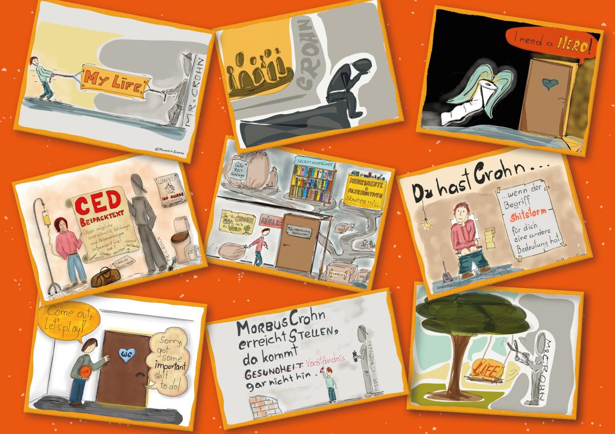 Collage - Leben mit Morbus Crohn - 9 Tipps für Angehörige: Abschluss, Bücher & Links