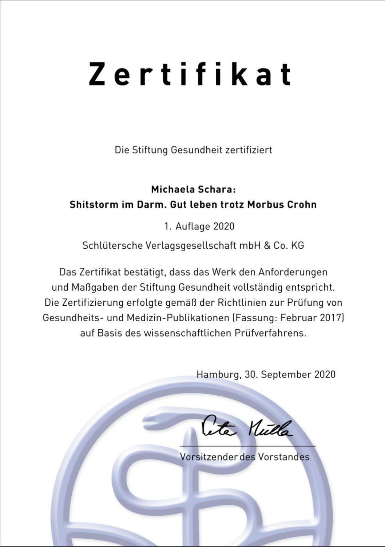 """Zertifikat StiftungGesundheit ShitstormimDarm - """"Shitstorm im Darm"""": zertifiziert und positiv bewertet!"""